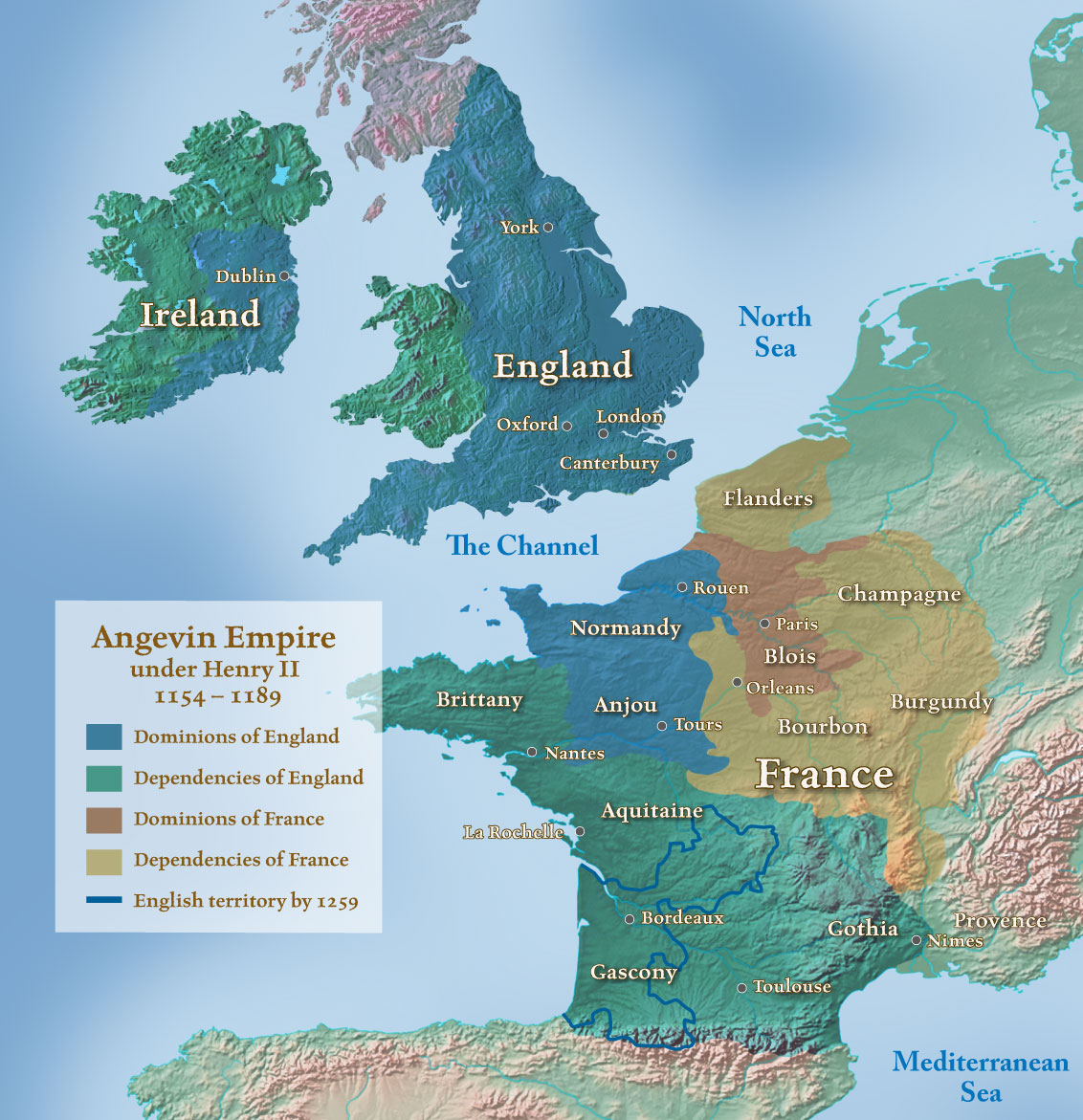 the angevin empire In its full est extent, the angevin empire comprised the kingdom of england, the lordship of ireland, the duchy of normandy and the duchy of aquitaine (the duchy of aquitaine, which included the county of poitiers, the duchy of gascony, the county of périgord, the county of la marche, the county of auvergne and the viscountcy [shrievalty] of.
